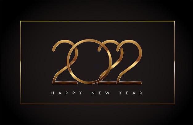 明けましておめでとうございます2022年テキストデザイン金色の黒の背景、カレンダーとグリーティングカードのベクトル要素に分離されました。