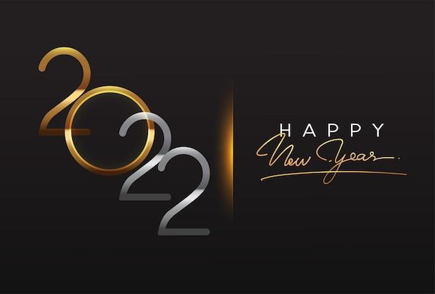 明けましておめでとうございます2022年テキストデザイン金色の黒の背景に分離
