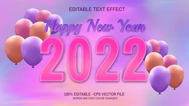 С новым годом 2022 текст редактируемый с воздушными шарами и пастельным градиентным фоном