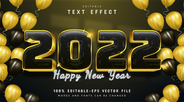 Happy new year 2022 text effect editable golden style