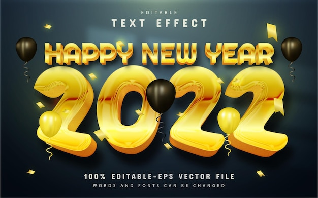 Happy new year 2022 text effect gold style