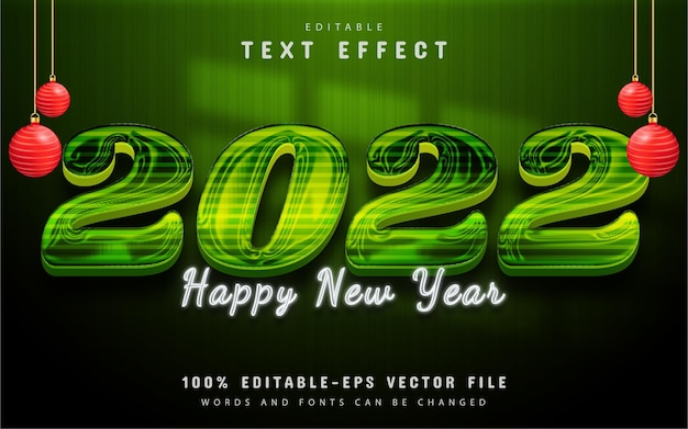 Happy new year 2022 text, green shiny text effect