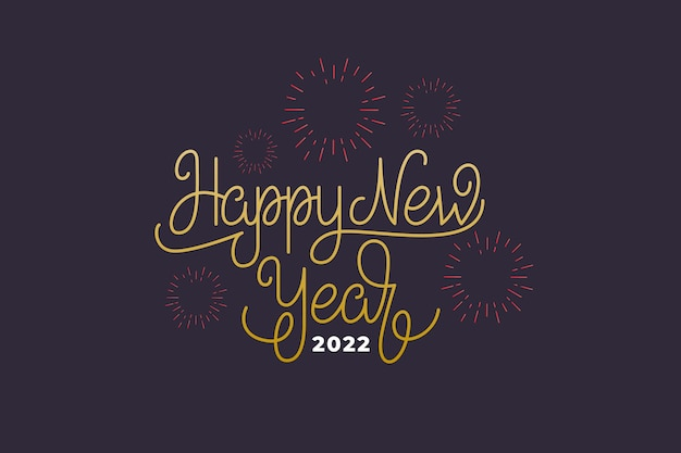 Happy new year 2022 text lettering. vector illustration for new year celebration.
