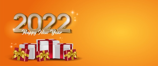 Happy new year 2022 text typography design and multiple gift boxes with text space