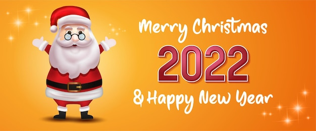 Happy new year 2022 text typography design with character christmas santa claus