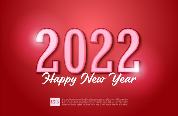 Happy new year 2022 text typography design with christmas decoration
