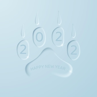Happy new year 2022 in the trail of the tiger on a light blue background