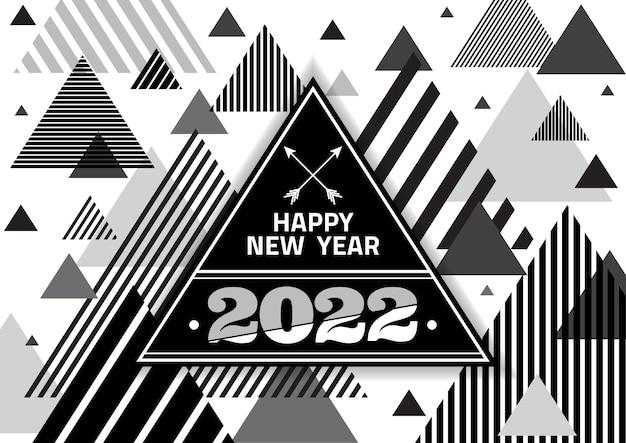 新年あけましておめでとうございます2022年の三角形と黒い色の背景にバーストキラキラ