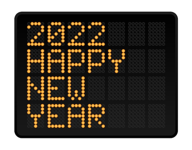 Happy new year 2022 vector illustration. led digital alphabet style text with glowing dots. abstract concept graphic element