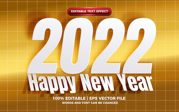 Happy new year 2022 white cutout paper editable text effect on golden bakcground