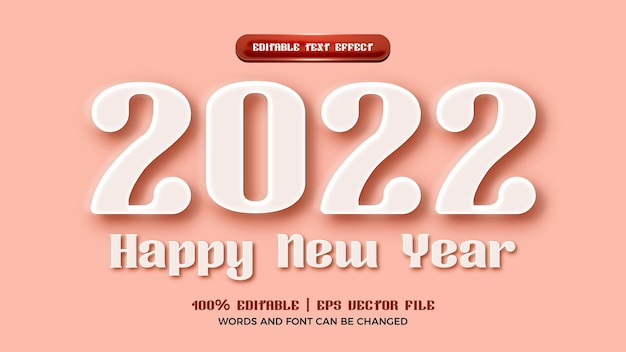 Happy new year 2022 white embossed 3d editable text effect style