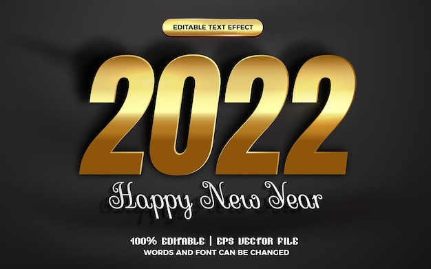 Happy new year 2022 white gold cutout paper editable text effect