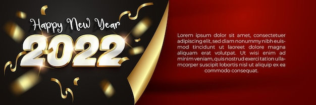 Happy new year 2022 white gold luxury banner template with 3d editable text effect