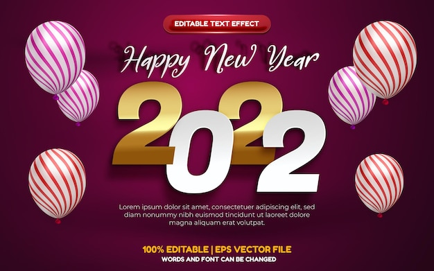 Happy new year 2022 white gold paper cut editable text effect