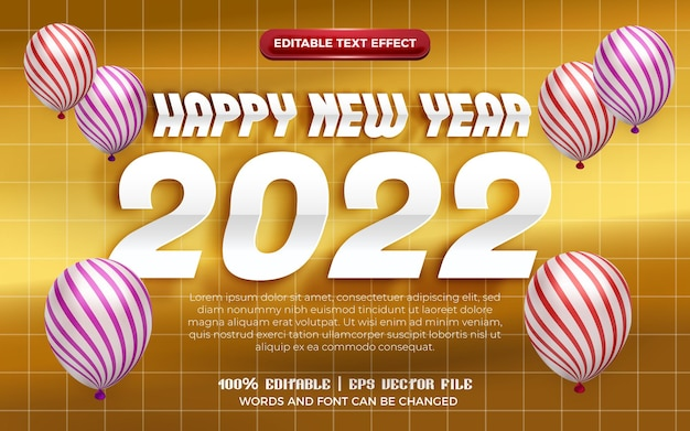 Happy new year 2022 white origami paper cut 3d editable text effect with pattern balloon on gold background