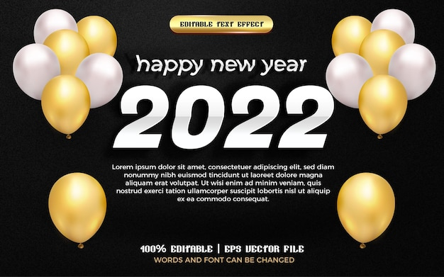 Happy new year 2022 white paper cut 3d editable text effect with gold balloon
