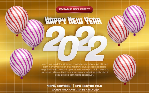 Happy new year 2022 white paper cut 3d editable text effect with pattern balloon on gold background