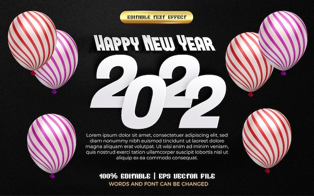 Happy new year 2022 white paper cut 3d editable text effect with pattern balloon