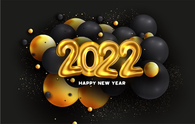 Happy new year 2022 with abstract balls