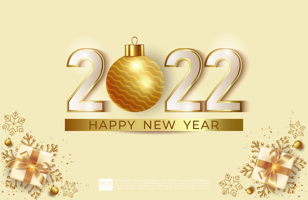 Happy new year 2022 with ball christmas illustration