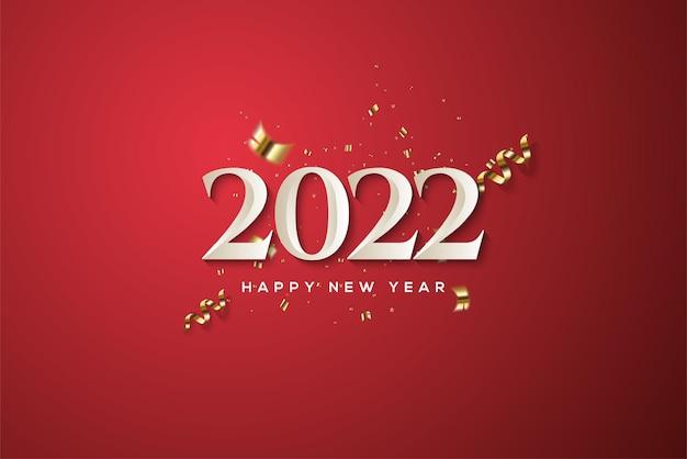 古典的な白い数字で新年あけましておめでとうございます2022
