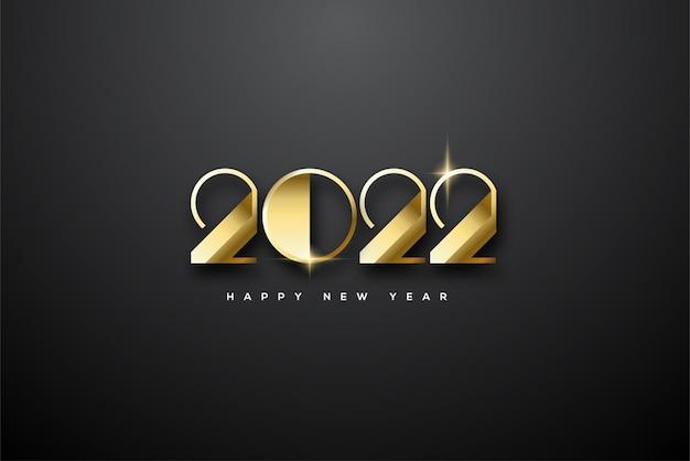 エレガントで光沢のあるゴールドの数字で新年あけましておめでとうございます2022