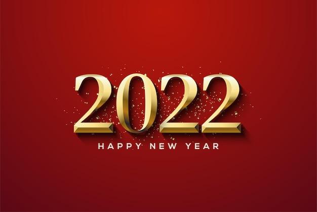 エレガントな数字で新年あけましておめでとうございます2022