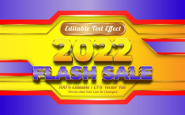 플래시 판매 편집 가능한 텍스트 효과 황금 스타일로 새해 복 많이 받으세요 2022