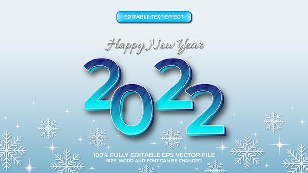 미래 지향적인 그라디언트 블루 3d 편집 가능한 텍스트 효과로 새해 복 많이 받으세요 2022