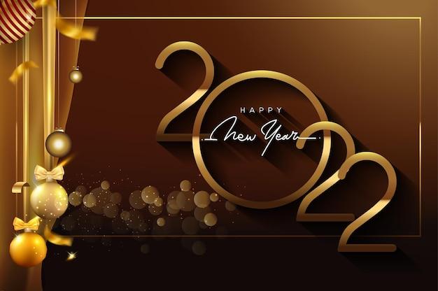 新年あけましておめでとうございます2022黒の背景に分離されたキラキラテキストデザイン金色