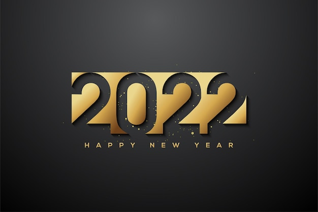 Happy new year 2022 with gold foil on black background
