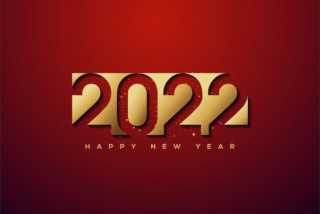 Happy new year 2022 with gold foil cut out