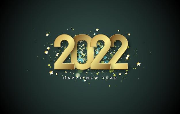 С новым 2022 годом с золотыми цифрами и роскошной золотой посыпкой