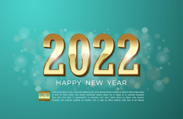Happy new year 2022 with gold ribbon and glitter on cyan background