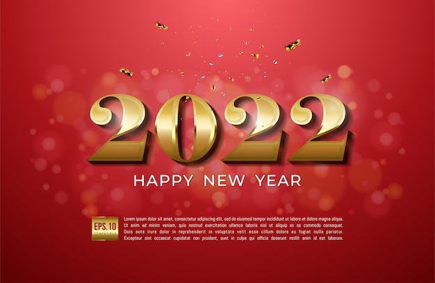 Happy new year 2022 with gold ribbon and glitter on red background