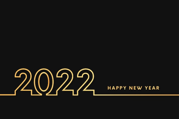 Happy new year 2022 with golden flat line design background
