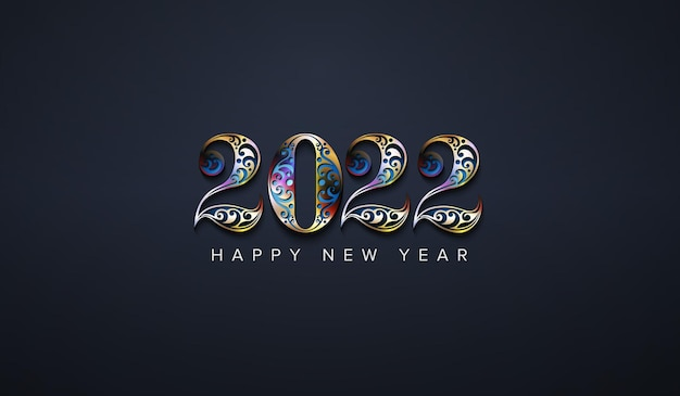 Happy new year 2022 with luxury colorful number