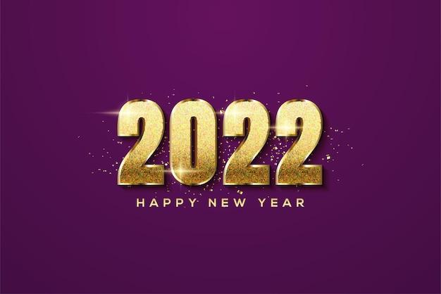 豪華なゴールドのキラキラ番号で新年あけましておめでとうございます2022