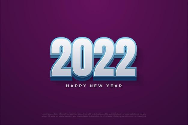現代の3d白い数字で新年あけましておめでとうございます2022