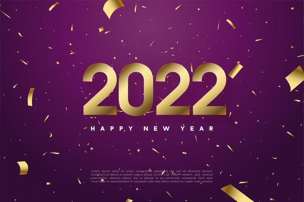 숫자와 금색 종이로 새해 복 많이 받으세요 2022