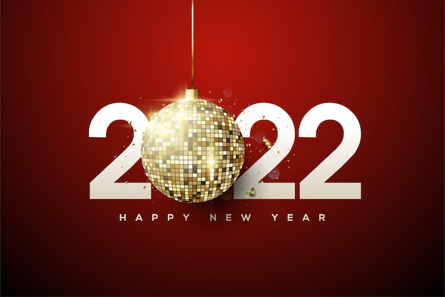 Happy new year 2022 with numbers and fancy disco balls