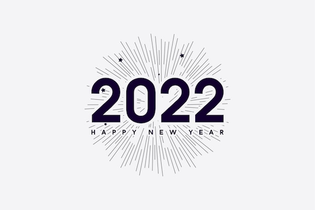 Happy new year 2022 with numbers and lines