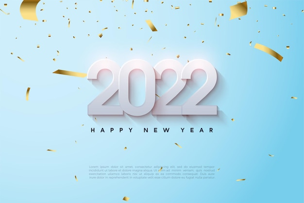 Happy new year 2022 with overlapping and shaded numbers