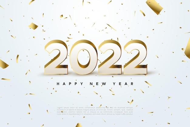 흩어져있는 금 숫자와 종이로 새해 복 많이 받으세요 2022