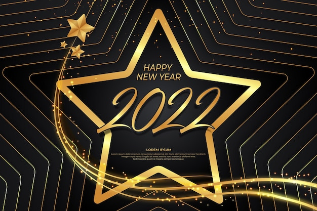 Happy new year 2022 with star black gold backround style