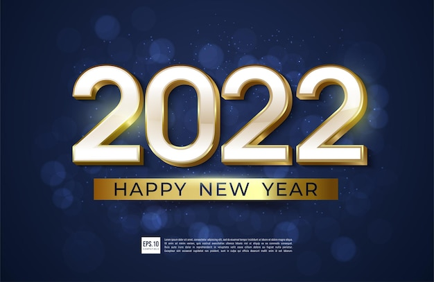 Happy new year 2022 with style gold border illustration simple design