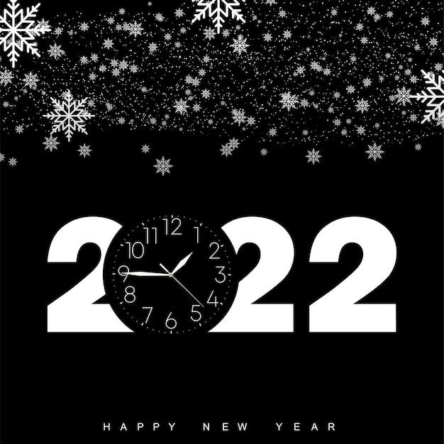 ヴィンテージ時計と雪の結晶が降る2022年明けましておめでとうございます。ベクトルイラスト
