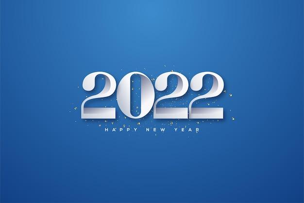 エレガントな青い背景に白い数字で新年あけましておめでとうございます2022