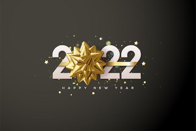 新年あけましておめでとうございます2022年、ゼロをリボンで置き換えた白い数字