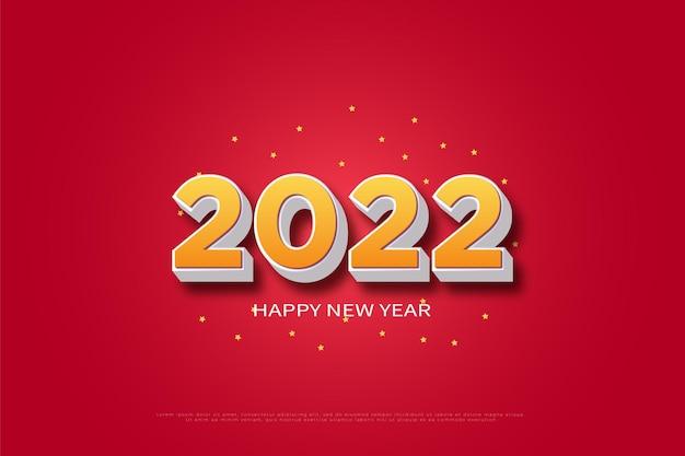 黄色の数字と暗い影で新年あけましておめでとうございます2022